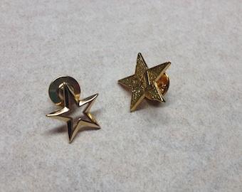 Vintage Lot of 2 Goldtone Star Pin/Brooch