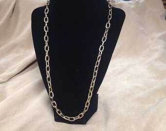 Vintage Goldtone Chain Design Necklace, Length 24''