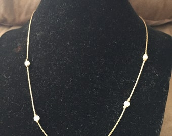 Vintage Goltone Necklace With Pearl Like Accents, Length 18.5''