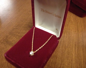 Vintage Goldtone Necklace with Round White Gemstone Pendant/April Birthstone, Length 16'', In Original Case