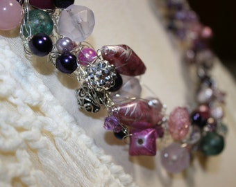 Blush, Purple, Pink, Crochet WireNecklace, Wire Jewelry, Crochet Necklace, Beaded Necklace, Statement Necklace, Bib Necklace,