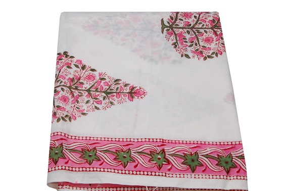 5 Yard Indian Running Garment Fabric Cotton Dress Material Block Print Floral