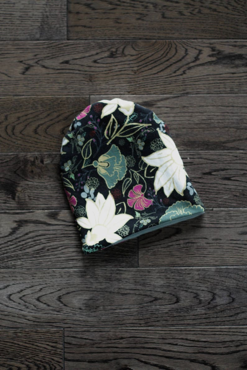 Willow Blooms Print Cotton Jersey Knit Reversible to Black or White Beanie for Baby Toddler Reversible Slouchy Beanie Child