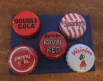 Bottle cap soda red black and white magnets 5  assortment