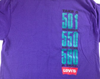 Levis 501 T-Shirt 90s Purple Take A Number Have A Seat USA Made Mens L/XL Tall Long 1993 Cotton Tee