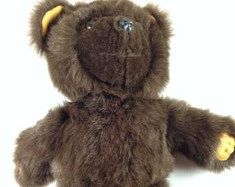"Shejae Teddy Bear VTG Stuffed 60s 70s Plush Large 16"" Toy Dark Brown Fuzzy Cute Ugly Antique"