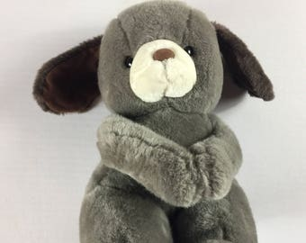 "Sesilco Plush Puppy Dog 13"" Hands Together Connect Gray Stuffed Toy 80s 90s Kids"
