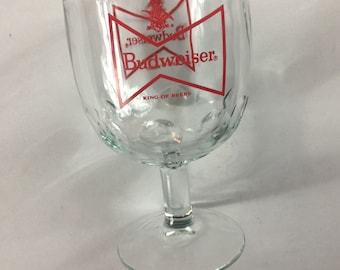 Budweiser Glass Cup Pedestal Footed Thumbprint Dimpled Beer Collectible Cup