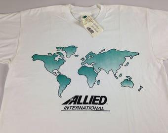 Vintage globe shirt etsy allied international t shirt mens sz ml world map 90s new white green globe gumiabroncs Images
