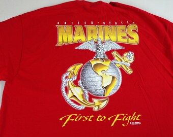 f0f0c9879 Marines T-Shirt First To Fight 90s Mens XL Red Military USA Made American 7.62  Design