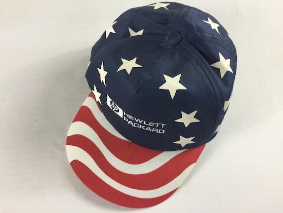 Hewlett Packard Double Snapback Hat Cap American Flag USA 90s  e212eea9bbe