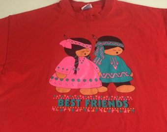 Best Friends T-Shirt 90s Adult XL Red Kids Cute American 90s Hanes Boy Girl Tee