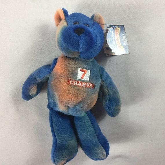 Denver Broncos John Elway Plush Bear Champs 1998 Beanie Tie Etsy