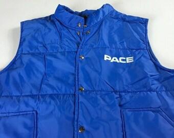 Pace Vest Jacket Mens Large Short Blue Light Puffer Coat Sleeveless USA Made Pla-Jac Dunbrooke