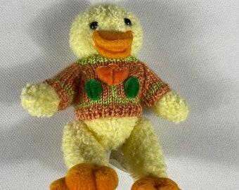 Chrisha Plush Duckling 1988 Duck Playful Plush 80s Bird Jointed Legs Sweater