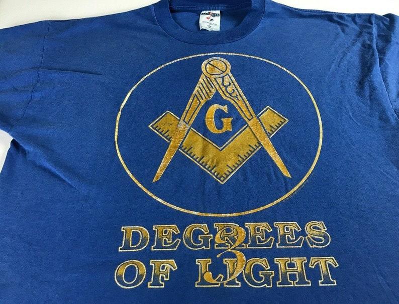 3 Degrees Of Light T-Shirt 1995 Adult L/XL Freemasonry USA image 0