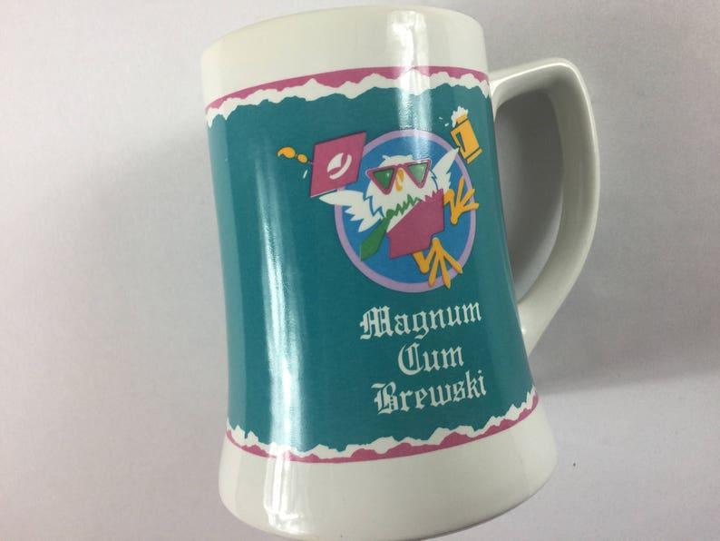 Magnum Cum Brewski Stein Mug Cup Funny College Fraternity Beer image 0