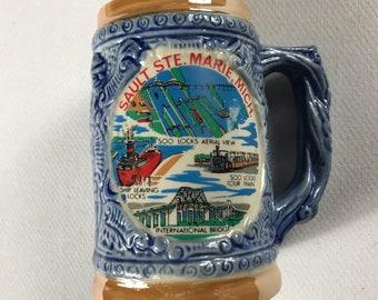 Sault Ste Marie Michigan Small Stein Mug Drink Beer Soo Locks Bridge Train Japan Made