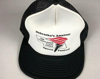 Cornhusker State Games Snapback Hat 1988 Foam Front Cap Nebraska's Amateur Sports Festival Trucker Adult One Size Designer Award Headwear