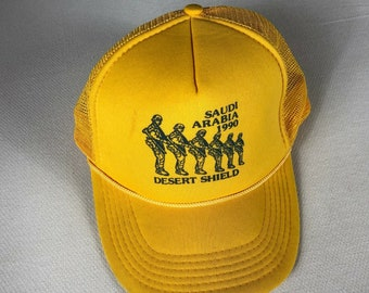 Desert Shield Saudi Arabia Snapback Hat 1990 Foam Front Rope Cap Trucker Mens Military War Adult One Size Polyester