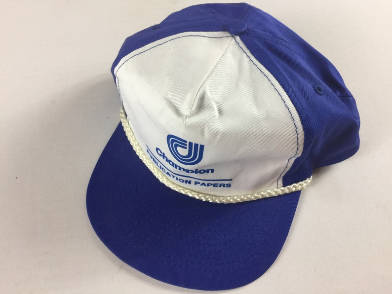 1abedbc3aacd1 Champion Double Snapback Hat Cap Publication Papers Blue White
