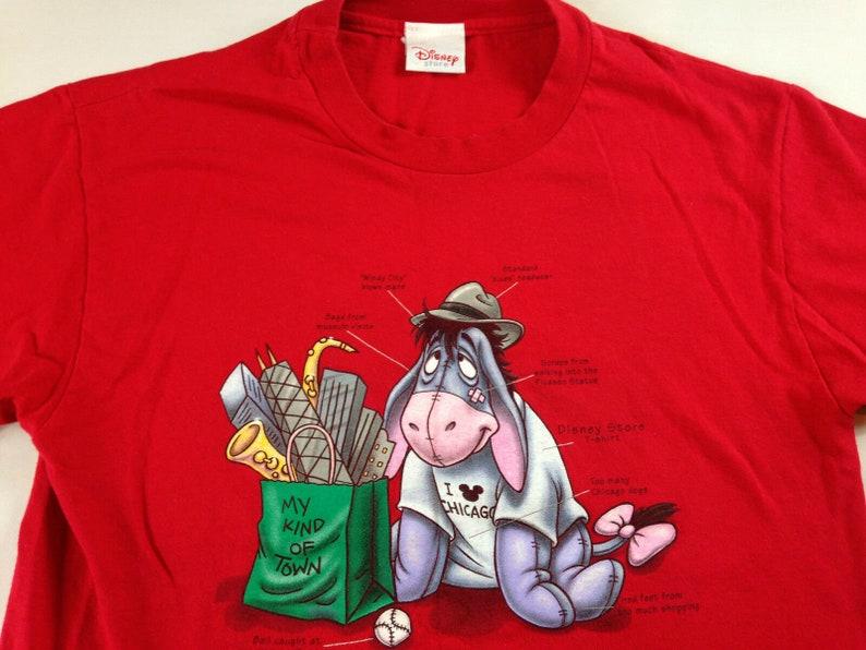 Eeyore Chicago T-Shirt Womens SZ S/M Town 90s Disney Tourist image 0