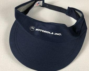 Motorola Inc Visor Hat Mens Adult One Size USA Made Golf Sun Navy Blue Phone Snapback