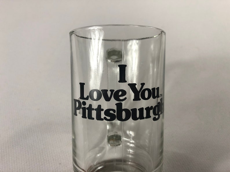 I Love You Pittsburgh Glass Stein Small Mug Drink Cup image 0