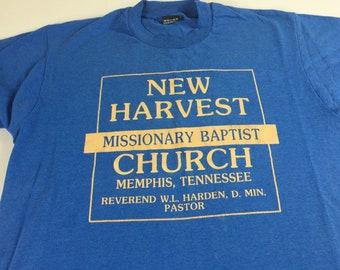 New Harvest Missionary Baptist Church T-Shirt Adult SZ M/L Memphis Tennessee Evangelistic Team Mass Choir USA Made