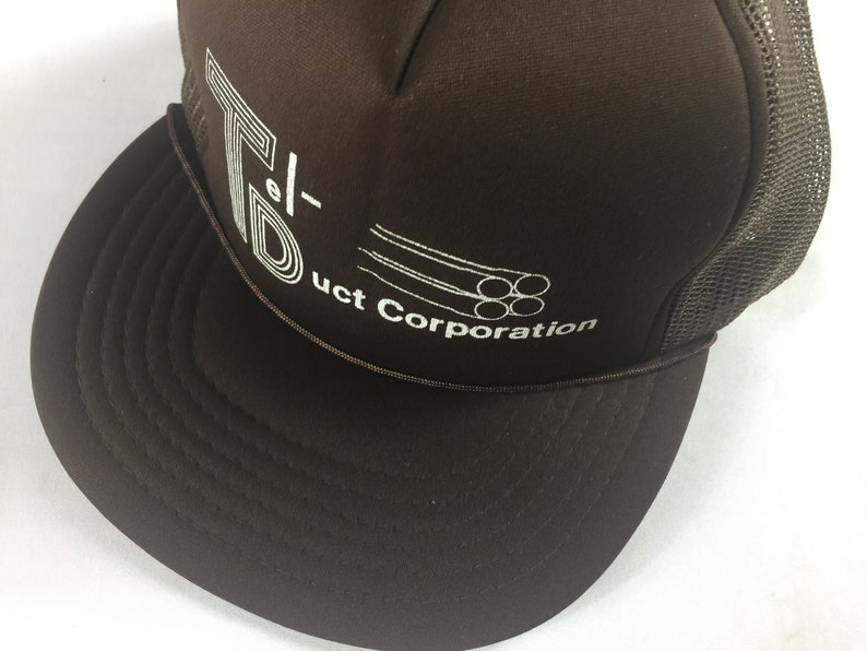 Tel-Duct Corporation Snapback Hat Foam Front Cap Brown Trucker image 0