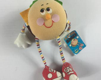 "Playtime Burger Plush 1984 Stuffed 11"" Toy Original Tags 80s Hands Feet Cute"