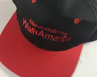March Of Dimes Double Snapback Hat Black Red Cobra Caps Walk America Charity