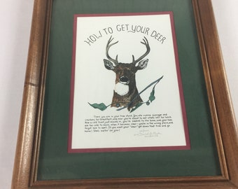 Daniel Rhodes Framed Art Signed 994/2000 Handcolored How To Get Your Deer 1994