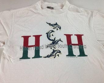 Hilton Head T-Shirt South Carolina Adult Medium 1995 Dolphins Ocean USA Made Mens Womens Unisex