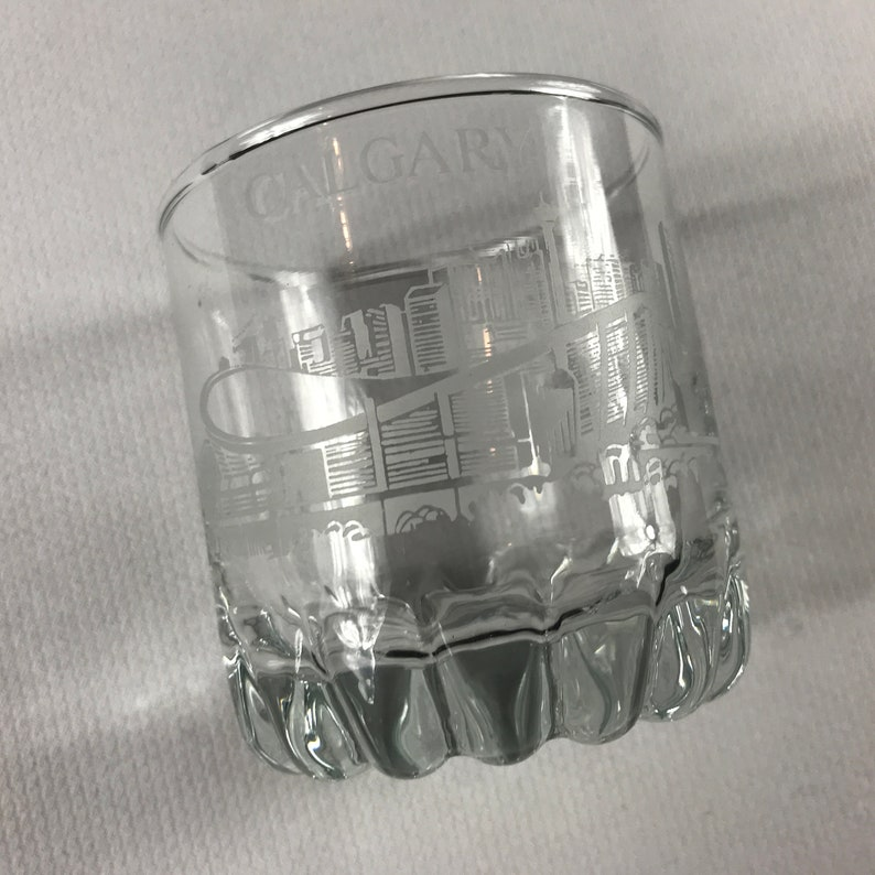 Calgary Glass Drink Cup Canada Skiing Bobsled City Skyline image 0