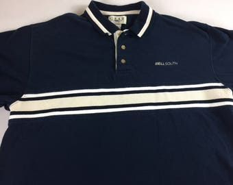 Bellsouth Polo Shirt Mens Medium Blue Golf Casual Gear For Sports 90s Cotton