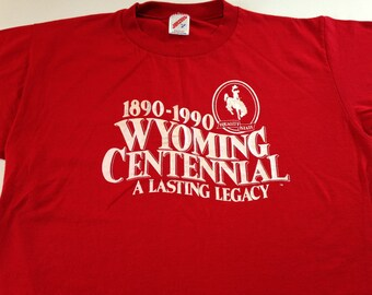 Wyoming Centennial Equality State Shirt Adult SZ M/L 100 Year 1990 USA Made Red 90s Jerseys Cowboy Bronco