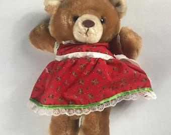 "Russ Berrie Holly Bear Plush 11"" Stuffed Small Teddy Dress Red Ribbon Bow"