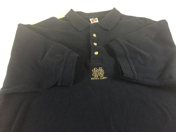 Notre Dame Fighting Irish Polo Shirt Mens LXL 90s Tall Long Textured Heavy Cotton
