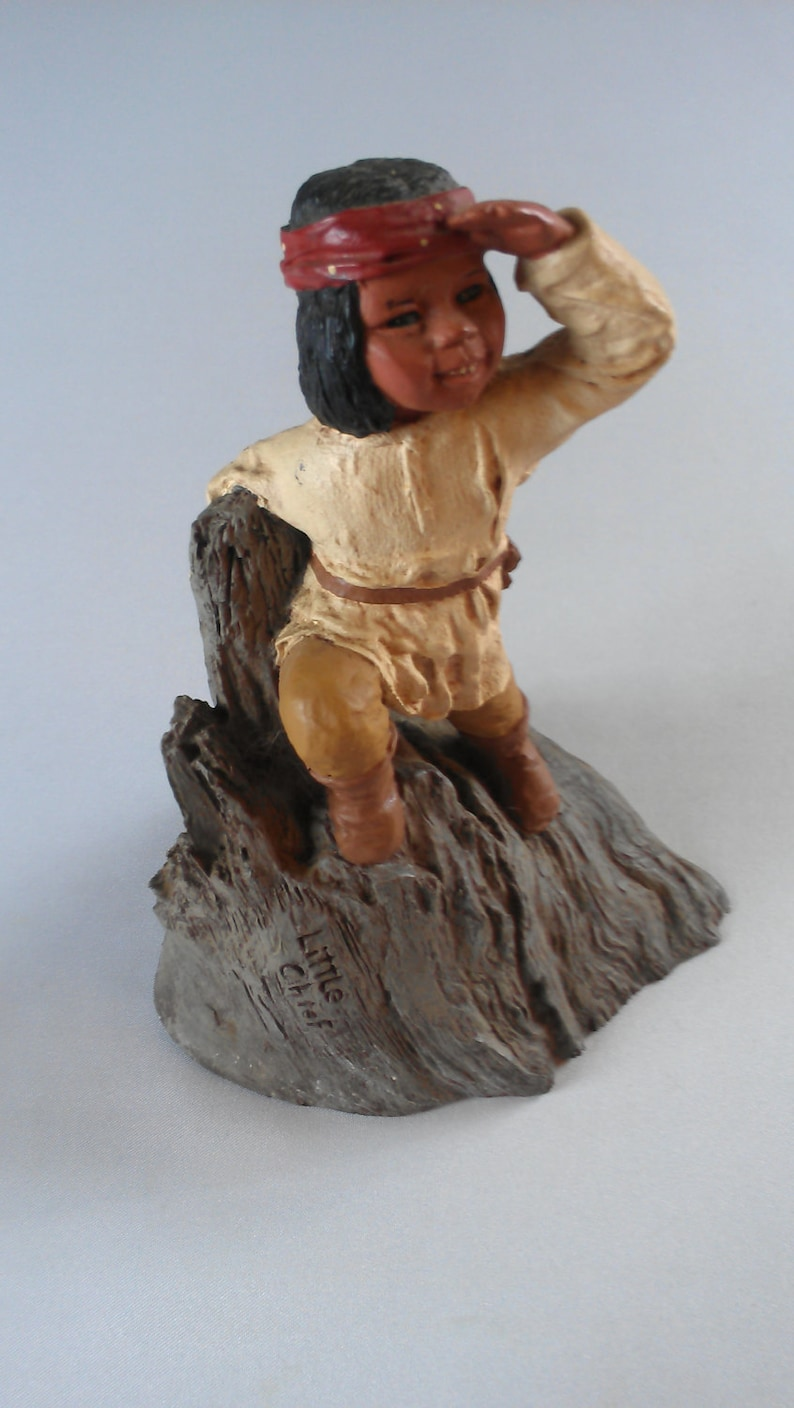 Little Chief 80s Figurine Collectible Artist Signed 1987 North image 0