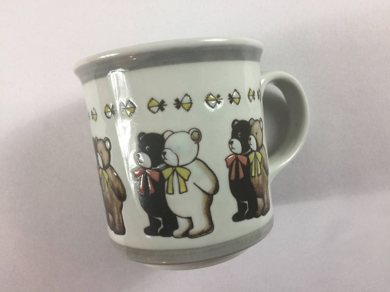 Etched Bears Coffee Mug Cup Collectible Cute Bow Ties Ribbons image 0