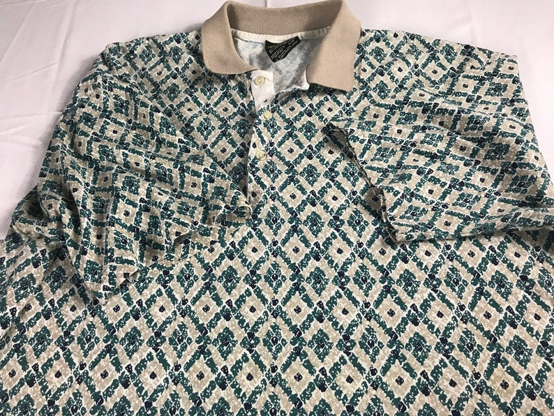 Chip Beck Polo Shirt Mens Large Golf USA Made Green Beige image 0