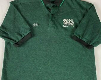 John Polo Shirt Mens SZ M/L Spartans Knights King Louie USA Made School Work