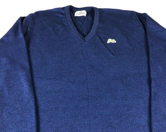 Garan Sweater Mens SZ M/L Navy Blue USA Made V-Neck Green White Logo Pullover