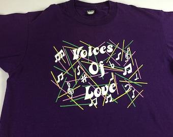 Voice Of Love T-Shirt 1992 Adult L/XL Christian Jubilate Tour Music USA Made
