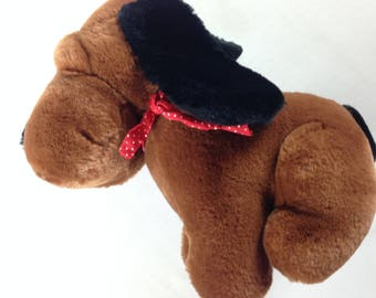 Gerber Precious Plush Stuffed Dog Bandana Scarf Soft Brown Black Puppy Pet