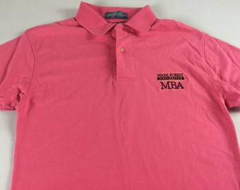 Wake Forest Polo Shirt MBA Adult Small University Demon Deacons USA Made Pink Student Alumni Grad