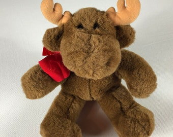 """Dakin Moose Plush 1993 Stuffed 12"""" Renee Posner Red Ribbon Bow 90s Animal"""