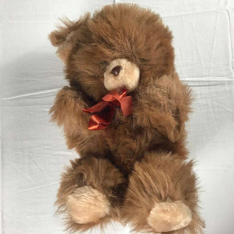 Plush Bear Furry 13 Stuffed Old Teddy Ribbon Bow Red image 0