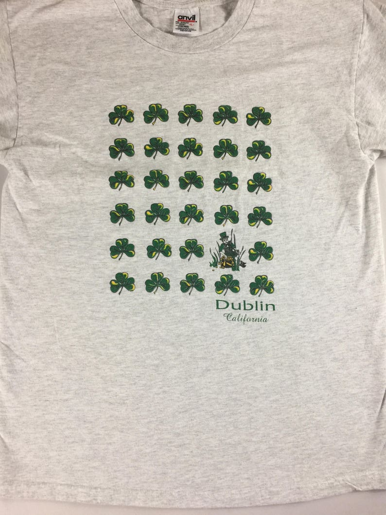 Dublin California T-Shirt Adult SZ M/L Irish Lucky 90s Mens image 0